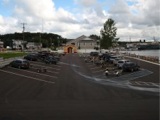 Photo overlooking the parking lot and public restrooms at the Arthur Street Boat Launch facility